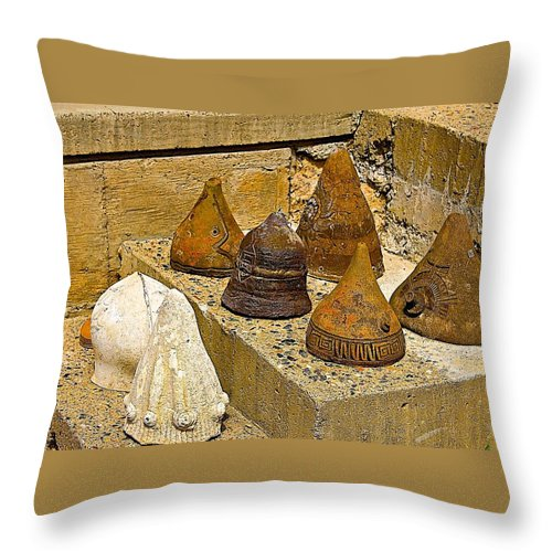 Arcosanti Throw Pillow featuring the photograph Bell Forms by Barbara Zahno