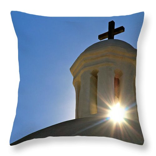 Tumacacori Mission Throw Pillow featuring the photograph Bell Tower Sun Burst Tumacacori Mission by Ed Riche