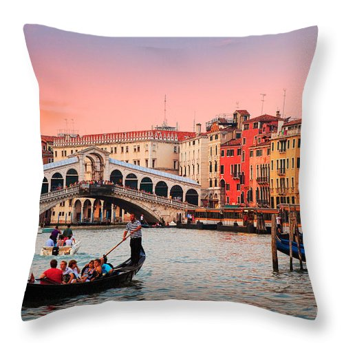 Canal Grande Throw Pillow featuring the photograph La Bella Canal Grande by Inge Johnsson