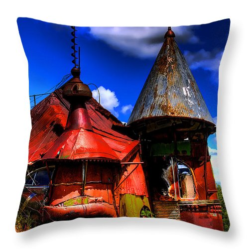 Junk Castle Throw Pillow featuring the photograph Belongs In Oz by David Patterson