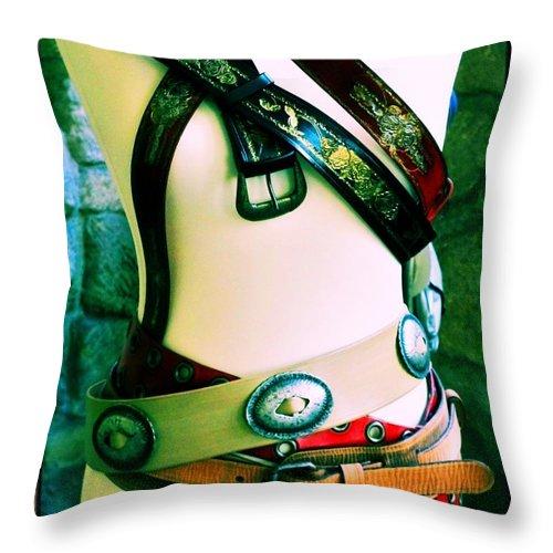 Newel Hunter Throw Pillow featuring the photograph Belt Fetish by Newel Hunter