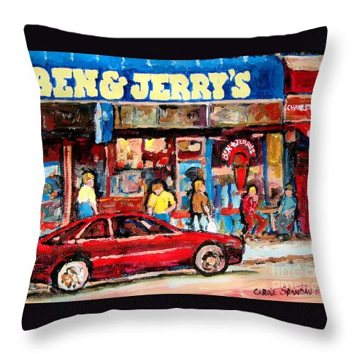 Cafescenes Throw Pillow featuring the painting Ben And Jerrys Ice Cream Parlor by Carole Spandau