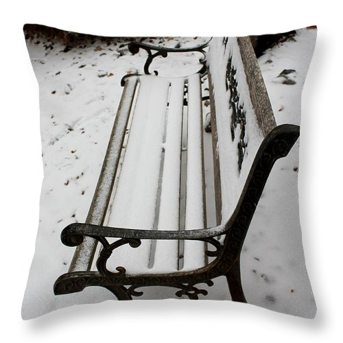 Bench Snow Throw Pillow featuring the photograph Bench In Snow by Eric Martin