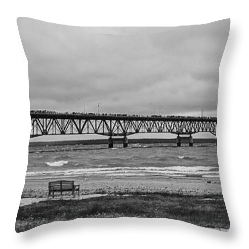 Mackinaw Bridge Throw Pillow featuring the photograph Benches And A Big Mac by Daniel Thompson