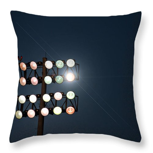 Lights Throw Pillow featuring the photograph Beneath Friday Night Lights by Trish Mistric
