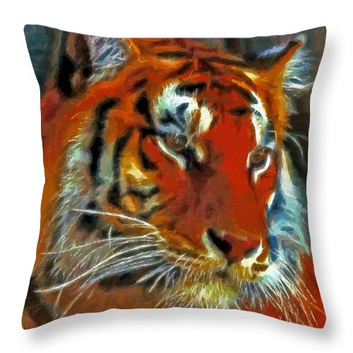 Bengal Throw Pillow featuring the painting Bengal by Lynne Jenkins
