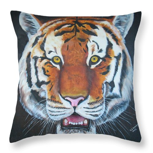 Bengal Throw Pillow featuring the painting Bengal Tiger by Thomas J Herring