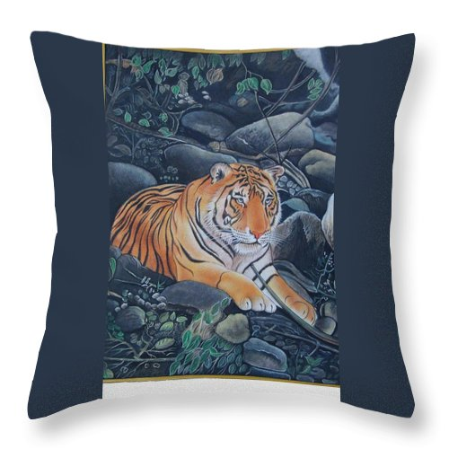 Realistic Handmade Painting By Artist Throw Pillow featuring the painting Bengal Tiger Wild Life Realistic Painting Water Color Handmade Artwork India Uk by Richa Maheshwari