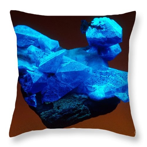 Benitoite Throw Pillow featuring the photograph Benitoite by Mark A Schneider