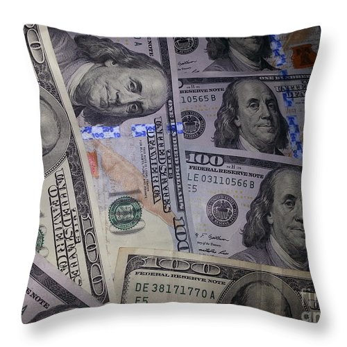 Benjamins New And Old Throw Pillow featuring the photograph Benjamins New And Old by Emmy Vickers