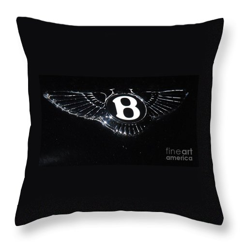 Automobile Art Iconic Luxury Automobile Bentley Classic British Logo Collectible Flying Wing Hood Ornament Den Decor Collectible Black Background Minimalism Metal Frame Wood Print Canvas Print Poster Print Available On T Shirts Greeting Cards Throw Pillows Mugs Phone Cases Pouches Weekender Tote Bags And Shower Curtains Throw Pillow featuring the photograph Bentley Logo Hood Ornament # 2 by Marcus Dagan