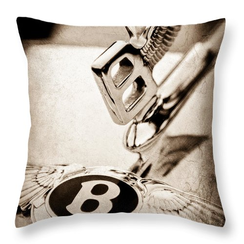 Bentley Hood Ornament Throw Pillow featuring the photograph Bentley Hood Ornament - Emblem by Jill Reger
