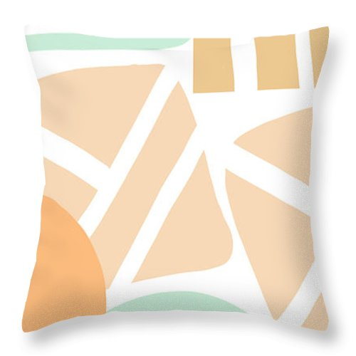 Abstract Throw Pillow featuring the mixed media Bento 3- abstract shapes art by Linda Woods