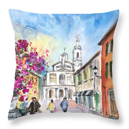 Travel Throw Pillow featuring the painting Bergamo Lower Town 01 by Miki De Goodaboom