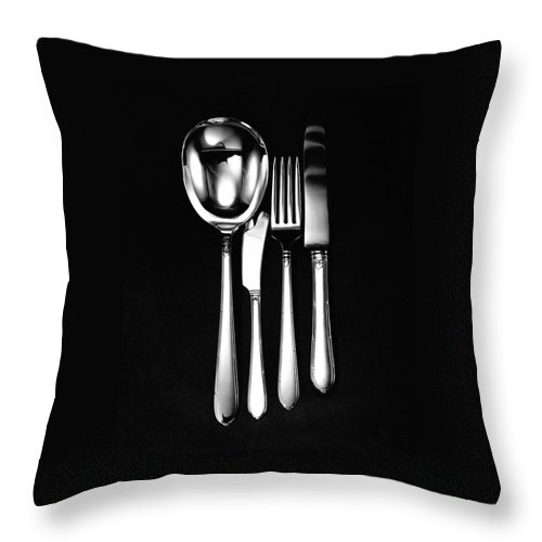 Home Accessories Throw Pillow featuring the photograph Berkeley Square Silverware by Martin Bruehl