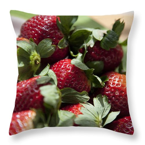 Strawberry Throw Pillow featuring the photograph Berries In The Kitchen by Greg Kopriva