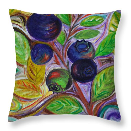 Berry Throw Pillow featuring the painting Berry Bush by Cynthia Lagoudakis