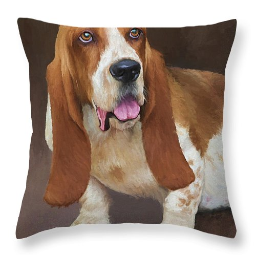 Bassett Hound Throw Pillow featuring the painting Bert by David Wagner
