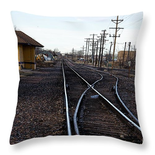 Berthoud Throw Pillow featuring the photograph Berthoud R R Station by Jon Burch Photography