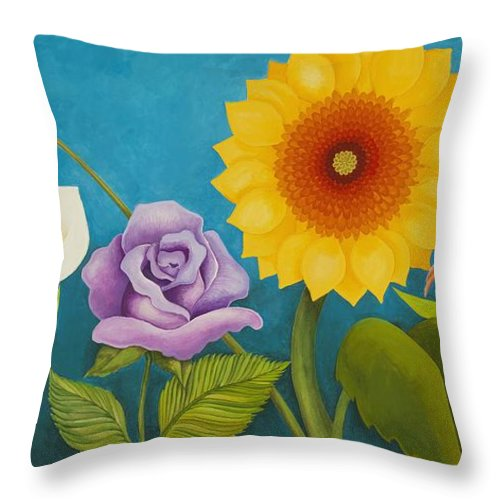 Art Throw Pillow featuring the painting Best Friends by Carol Sabo