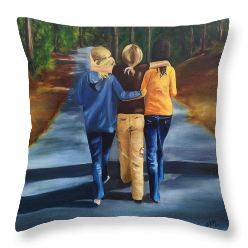 Friends Throw Pillow featuring the painting Best Friends by Vikki Angel