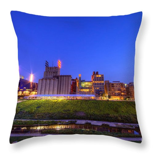 Cityscape Throw Pillow featuring the photograph Best Minneapolis Skyline At Night Blue Hour by Wayne Moran