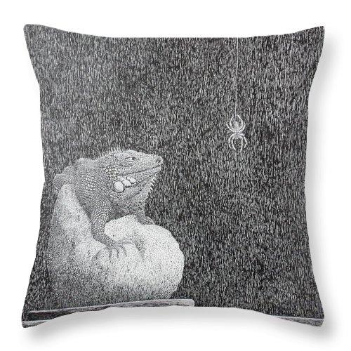 Still Life Throw Pillow featuring the painting Bestilled Life by A Robert Malcom