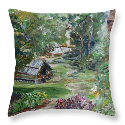Bethania Throw Pillow featuring the painting Bethania Garden by Blythe Quinn