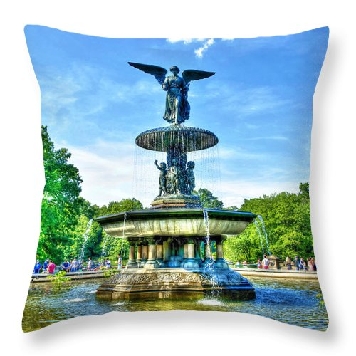 Bethesda Throw Pillow featuring the photograph Bethesda Fountain At Central Park by Randy Aveille