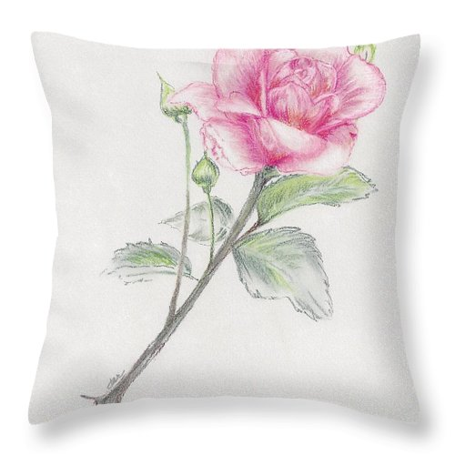 Rose Throw Pillow featuring the pastel Betsy's Rose by Judith Rice