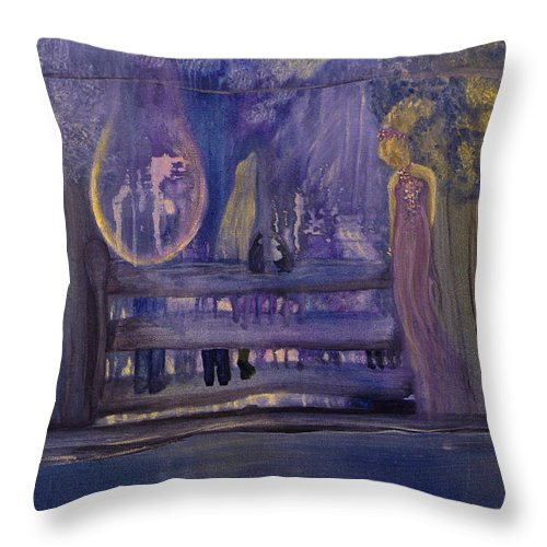Between Throw Pillow featuring the painting Between The Layers by Barbara St Jean