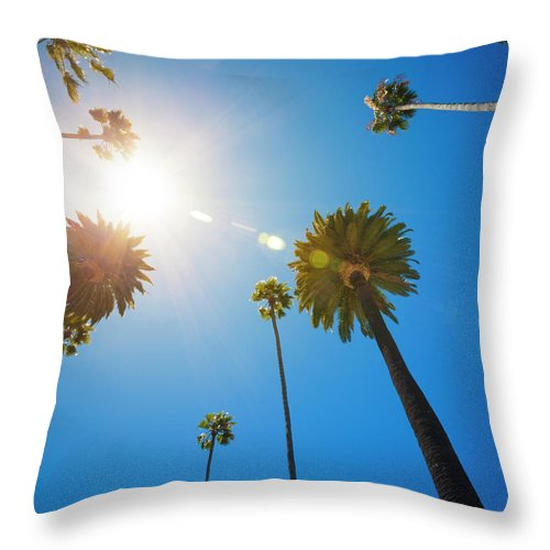 Beverly Hills Throw Pillow featuring the photograph Beverly Hills Palm Trees by Lpettet