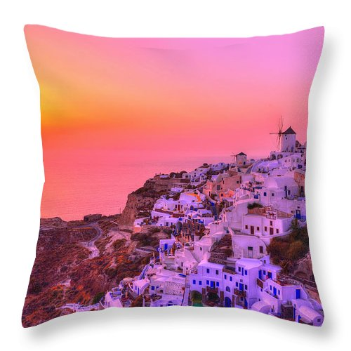 Santorini Throw Pillow featuring the photograph Bewitched Sunset by Midori Chan