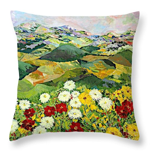 Landscape Throw Pillow featuring the painting Bewitching Twilight by Allan P Friedlander