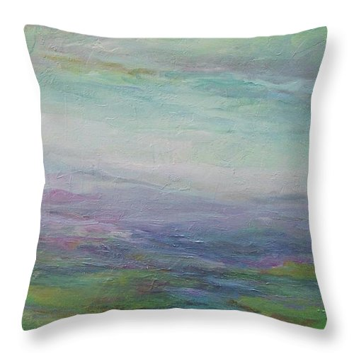 Landscape Throw Pillow featuring the painting Beyond The Distant Hills by Mary Wolf
