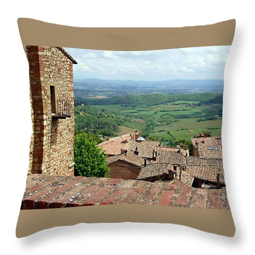 Beyond The Rooftops Throw Pillow featuring the photograph Beyond The Rooftops 1 by Ellen Henneke