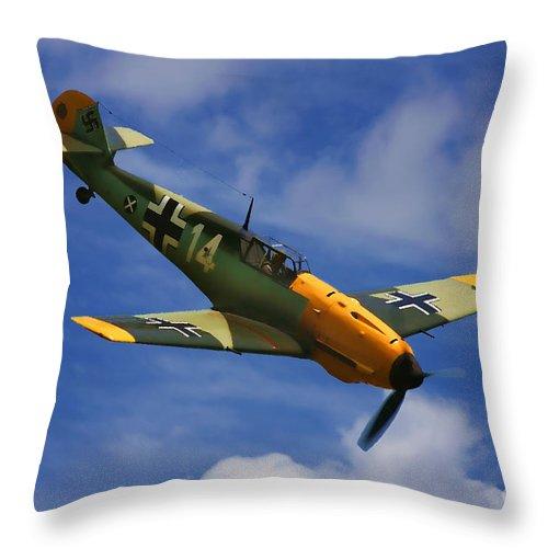 Messerschmitt Throw Pillow featuring the digital art Bf 109 Messerschmitt by Tommy Anderson