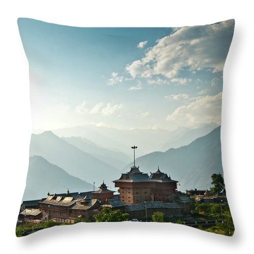 Hinduism Throw Pillow featuring the photograph Bhimakali Temple, Sarhan, Himachal by Jitendra Singh Is A New Delhi / Shimla Based Photojournalist