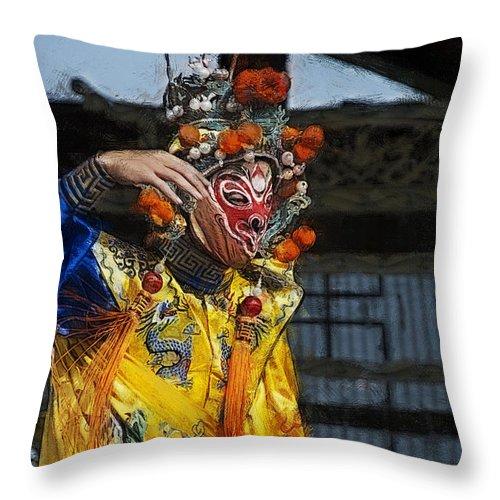 Bian Jiang Throw Pillow featuring the digital art Bian Jiang Dancer Color Drawing Hp by David Lange