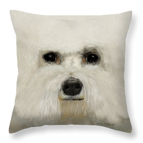 Bichon Frise Throw Pillow featuring the drawing Bichon Frise by Myke Irving