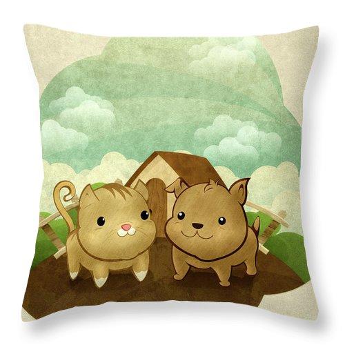 Pets Throw Pillow featuring the digital art Bichos by Por Caio Ramos
