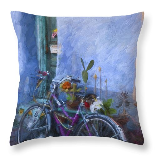 Arizona Throw Pillow featuring the mixed media Bicycle And Blue Wall Painterly Effect by Carol Leigh