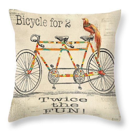 Digital Throw Pillow featuring the digital art Bicycle For 2 by Jean Plout
