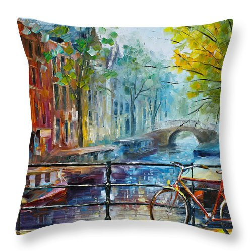 Amsterdam Throw Pillow featuring the painting Bicycle in Amsterdam by Leonid Afremov