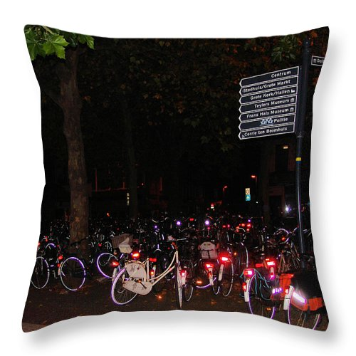 Bicycle Throw Pillow featuring the photograph Bicycle Parking In Haarlem by Alex Vishnevsky