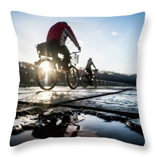 People Throw Pillow featuring the photograph Bicycles by A. Aleksandravicius