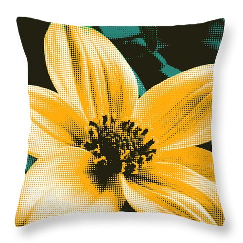 Tickseed Throw Pillow featuring the painting Bidens by Susan Schroeder