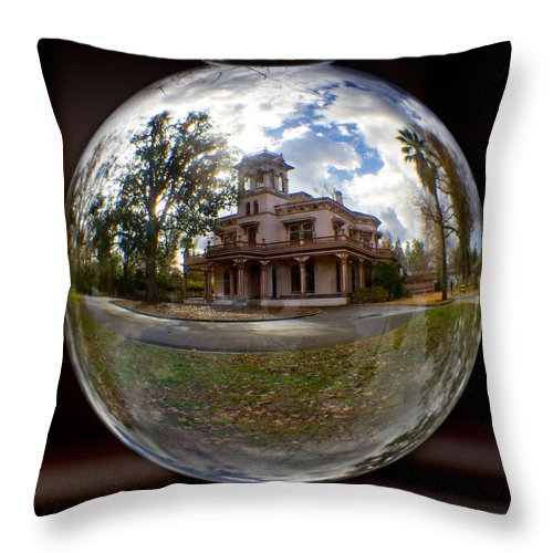 Bidwell Throw Pillow featuring the photograph Bidwell Mansion Through A Glass Eye by Robert Woodward