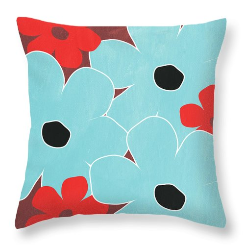 Big Blue Throw Pillows : Big Blue Flowers Throw Pillow for Sale by Linda Woods