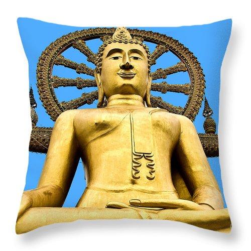 Pray Throw Pillow featuring the photograph Big Buddah by Daniela White